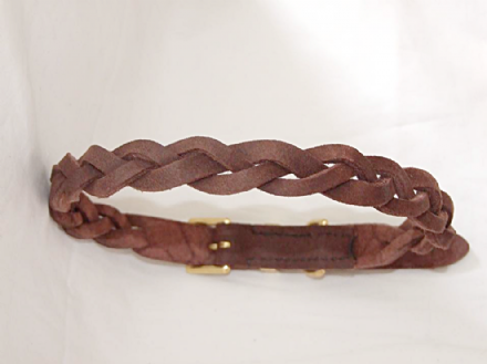 Hand-Made English Brushed Leather Secret plaIt Dog Collar
